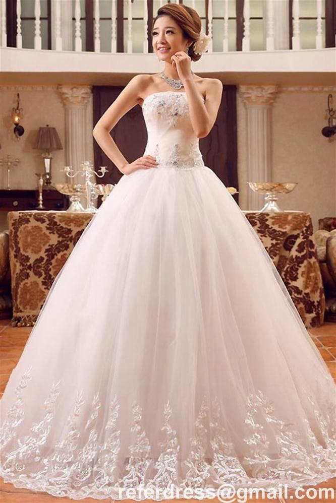 HOT SALES BALL GOWN WEDDING DRESSES STRAPLESS NECK LACE APPQLIQUES