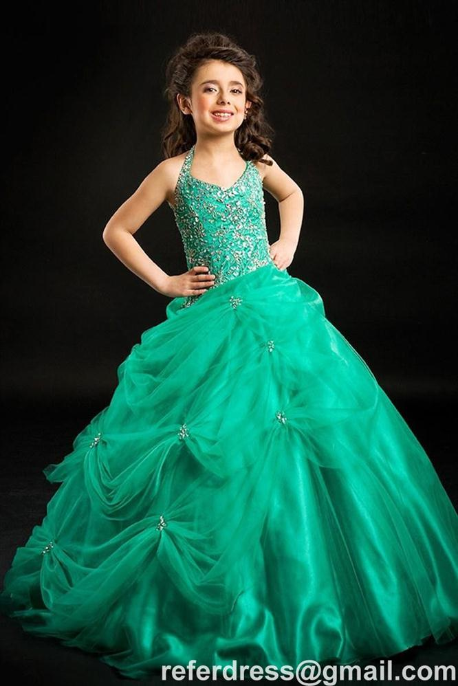 BEST SELL HALTER FLOWER GIRL DRESSES BALL GOWN TULLE LONG GOWN FOR PAGEANT