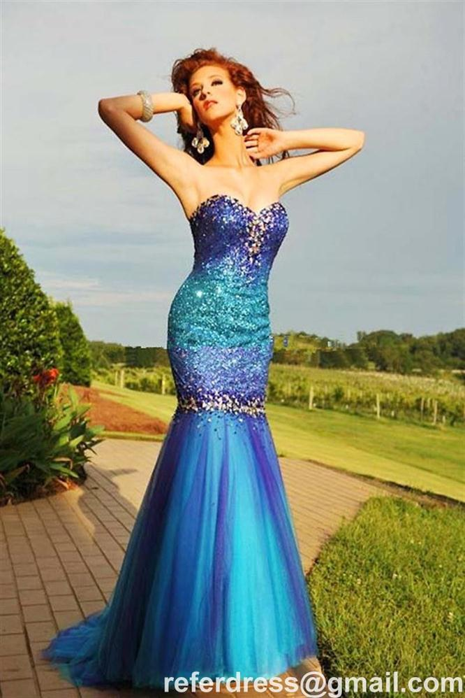 LONG PROM DRESSES SWEETHEART BEADING SEQUINS TULLE MERMAID GOWNS