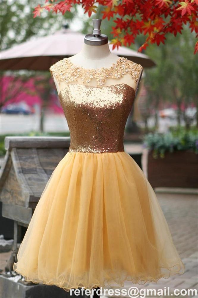 GOLD MINI LENGTH COCKTAIL DRESSES TULLE HOMECOMING GOWNS