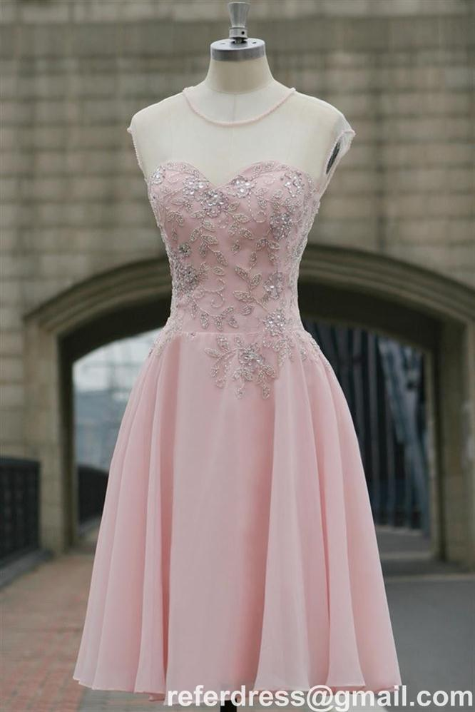 PINK CHIFFON COCKTAIL DRESSES SHEER STRAPS BEADING GRADUATION GOWNS