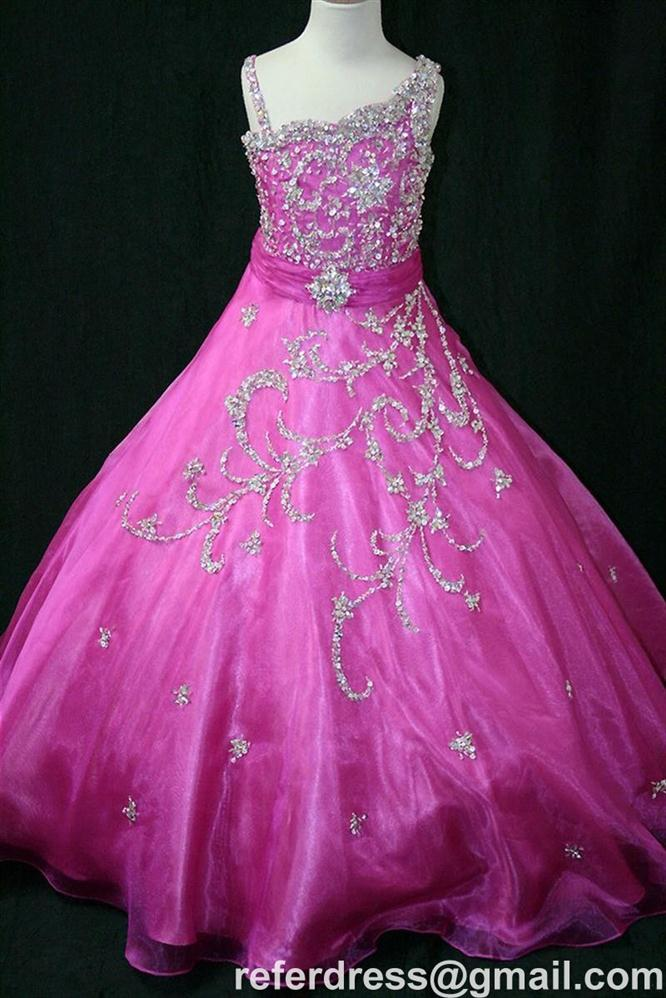 COLORFUL LONG FLOWER GIRL DRESSES WITH BEADING BALL GOWN DESIGN