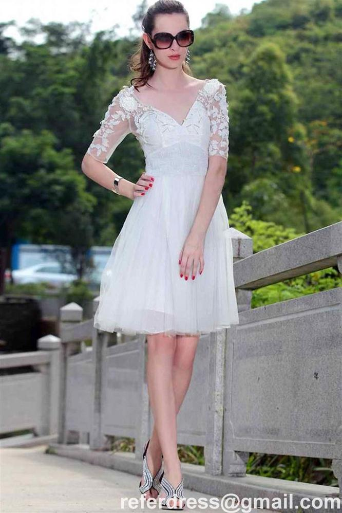 CHIC A LINE HOMECOMING DRESSES WITH APPLIQUE SHORT SLEEVES