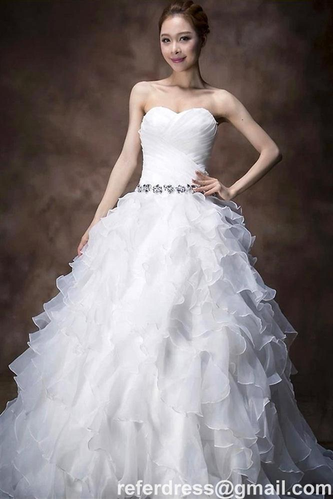 WHITE A LINE WEDDING DRESSES STRAPLESS NECK WITH ORGANZA RUFFLES