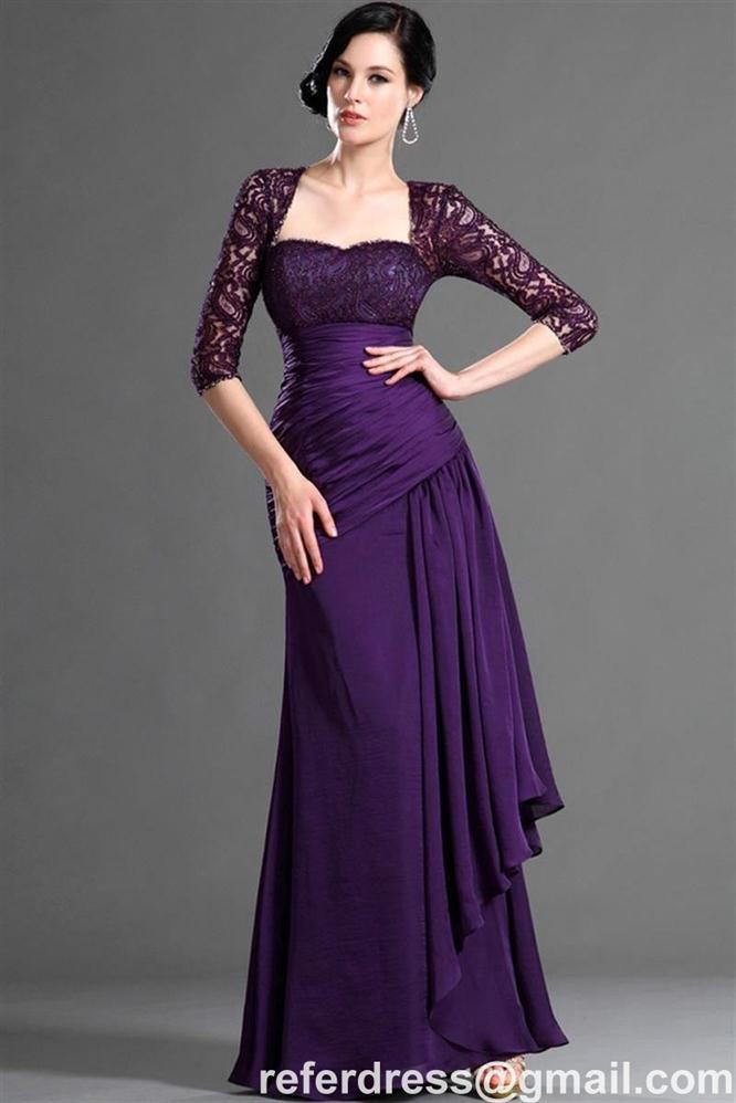 SEXY PURPLE STRAPLESS BEADED MOTHER OF THE BRIDE DRESS WITH JACKET